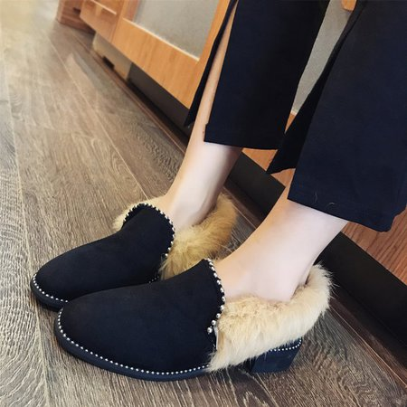 Low Heel Winter Flocking Casual Loafers