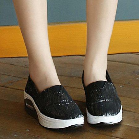 Black Casual Canvas Platform Loafers