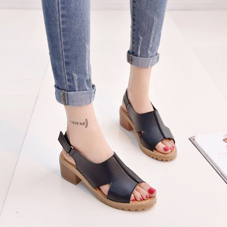 Chunky Heel Buckle Casual PU Sandals