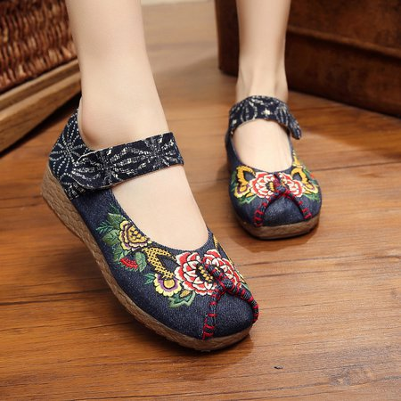Floral Embroidered Linen Flat Heel Sandals
