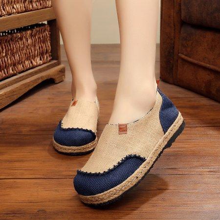 Color Block Flat Heel Linen Slip On Loafers