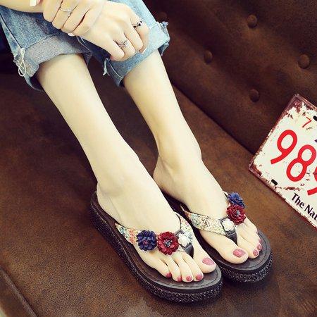 Casual Flower Flat Heel Summer Slippers