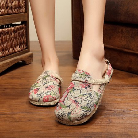 Casual Flat Heel Floral Print All Season Canvas Slippers