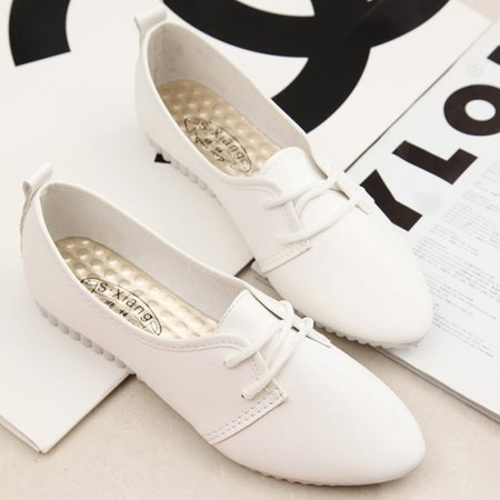 PU Flat Heel Casual Lace-up Loafer
