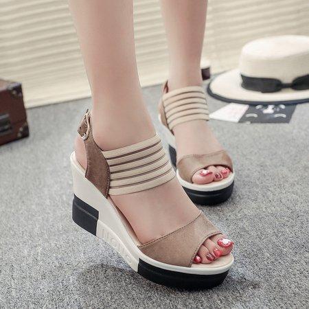 Casual Summer Suede Buckle Wedge Heel Sandals