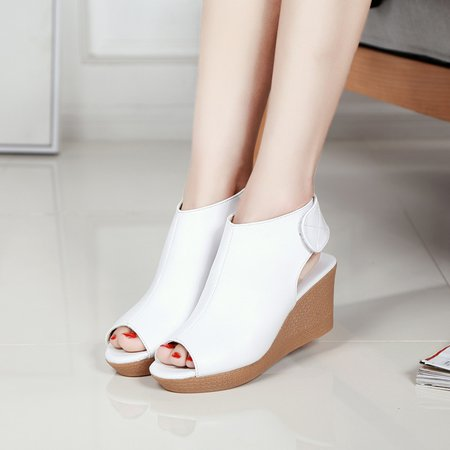 Magic Tape Casual Genuine Leather Wedge Heel Pumps