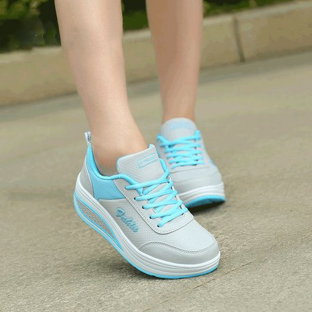 Artificial Leather Lace-up Flat Heel Athletic All Season Sneakers