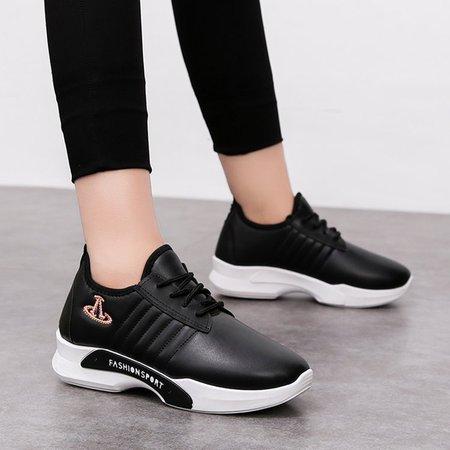 PU Flat Heel All Season Lace-up Sneakers