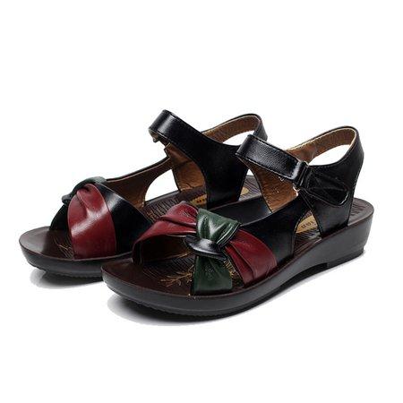 PU Flat Heel Magic Tape Casual Summer Sandals