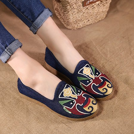 Flat Heel Linen Casual Embroidery Flats