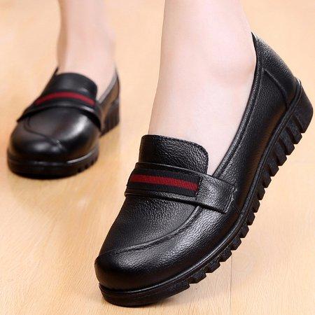 All Season Split Joint Flat Heel Genuine Leather Casual Loafers