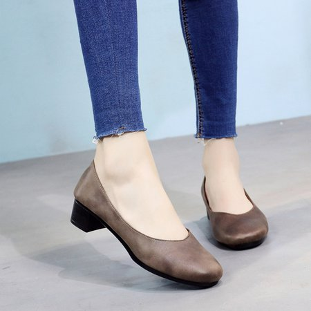 Casual Chunky Heel All Season Faux Leather Pumps