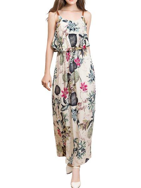 Women Print Dress Off Shoulder Daytime Sexy Cotton-blend Dress