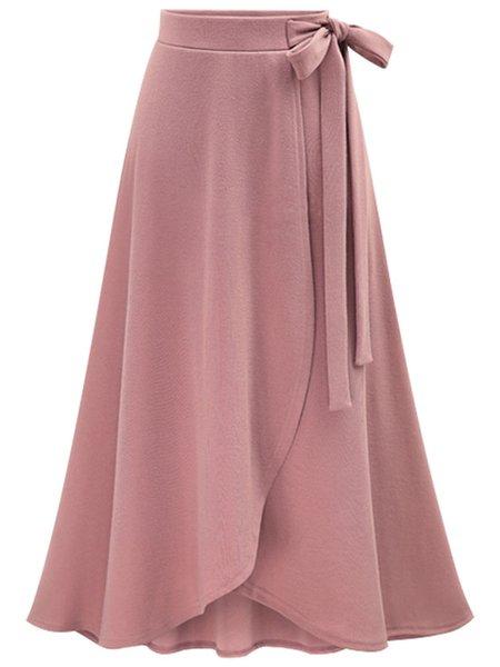 Cotton-blend Plain Paneled Casual Skirt