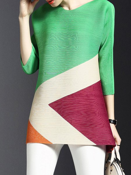 V-Neck Printed/Dyed Statement Half Sleeve Abstract Tunic Top