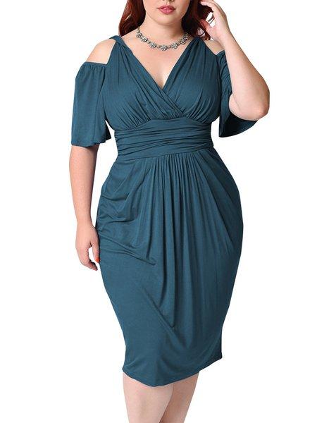 Women Elegant Dress Surplice Neck Bodycon Sexy Plain Dress