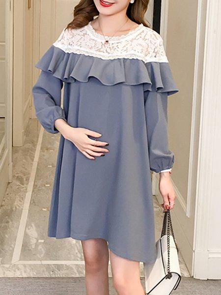 Cotton Long Sleeve Sweet H-line Dress