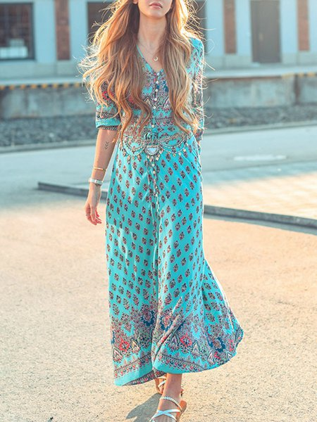 Women Print Dress V neck Swing Daytime Boho Printed/Dyed Dress