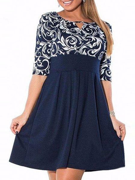 Blue Women Elegant Dress V neck Daytime Paneled Floral Dress