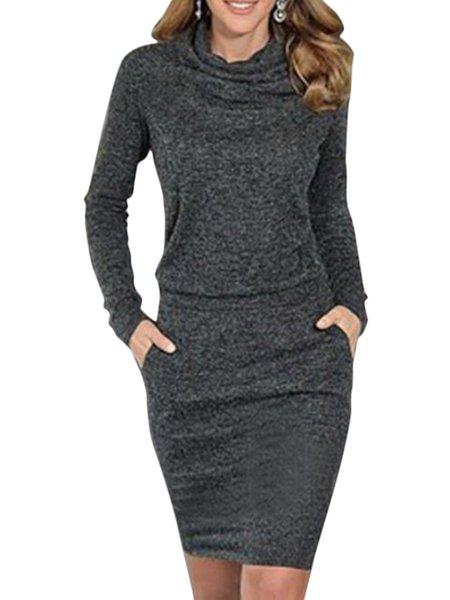 Turn-down Collar Cotton Long Sleeve Pockets Dress