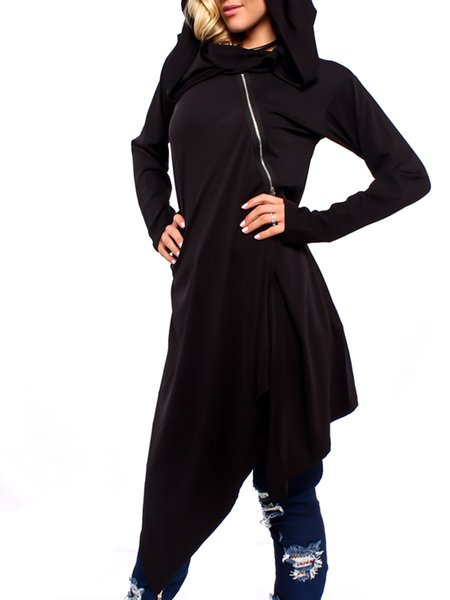 Asymmetric Casual Hoodie Plain Long Sleeve Tunic Top