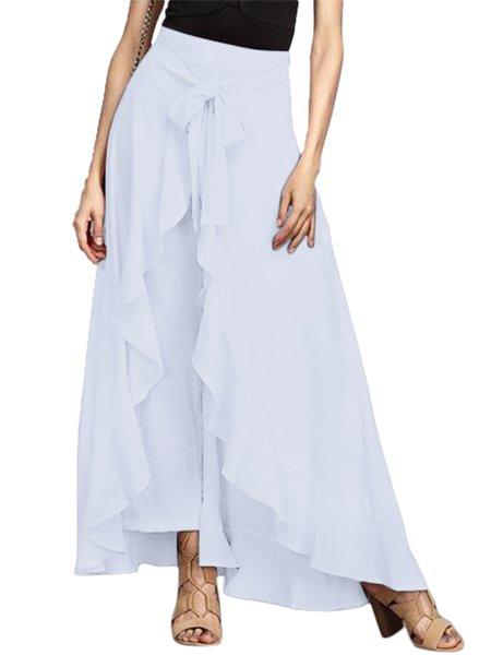 Paneled Polyester Casual Plain Skirt