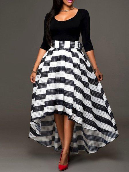 Black Long Sleeve Stripes Paneled Women's Co-ord