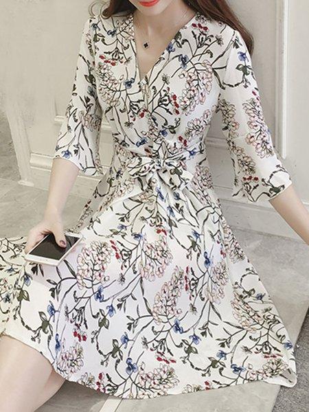 Printed Half Sleeve Elegant V Neck Skater Dress