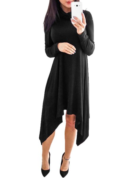Women Casual Dress Turtleneck Daily Long Sleeve Casual Dress
