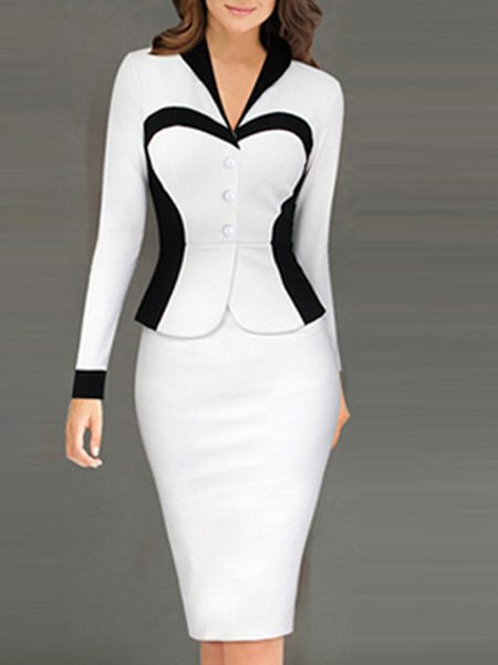 Women Elegant Dress V neck Bodycon Daily Long Sleeve Casual Dress