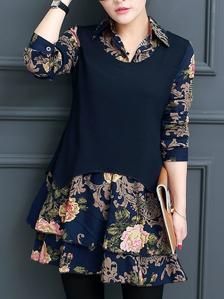 Floral A-line Long Sleeve Paneled Tunic Top