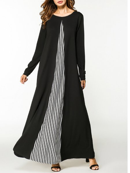 Stripes Crew Neck Embroidered Long Sleeve Dress