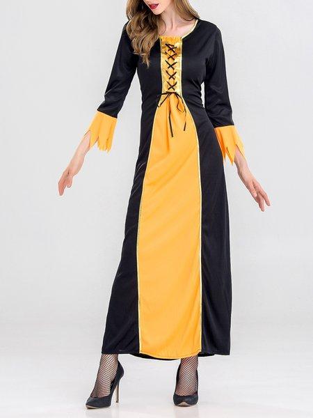 Paneled Evening H-line Long Sleeve Dress