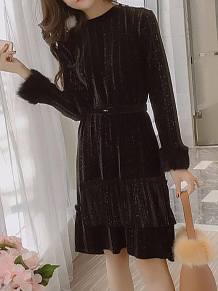 Shift Crew Neck Casual Pleated Dress