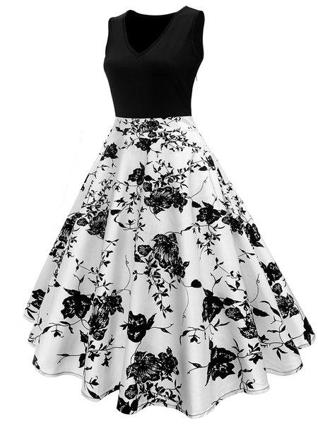 Black Women Vintage Dress Crew Neck Swing Daytime Cotton Floral Dress