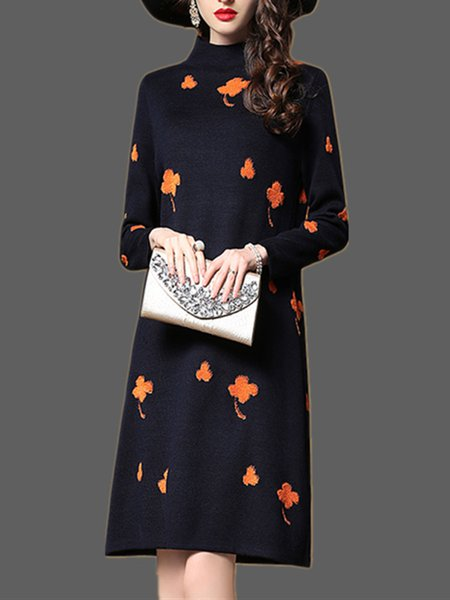 Navy Blue Long Sleeve Cotton H-line Knitted Dress