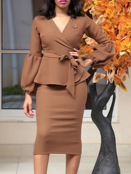 Brown Polyester Long Sleeve Sheath Women's Co-ord