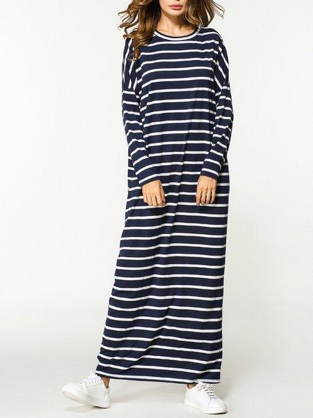 Navy Blue Long Sleeve Cotton Crew Neck Stripes Dress