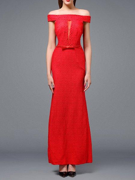 Evening Printed Short Sleeve Chiffon Dress