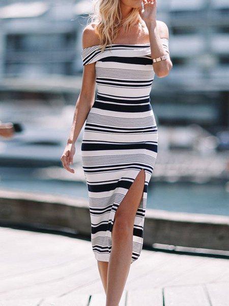 Women Casual Dress Strapless Sheath Daily Casual Striped Dress