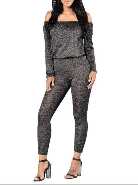 Gray Cotton Off Shoulder Casual Jumpsuit