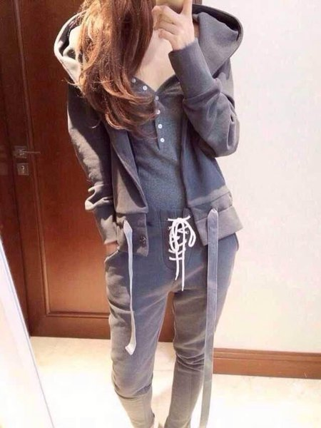 Casual Paneled Polyester Two Piece Women's Co-ord