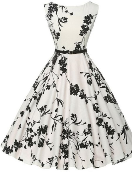 White Floral Sleeveless Linen Printed Dress