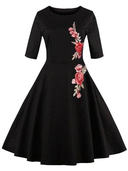 Black Half Sleeve Floral Swing Dress