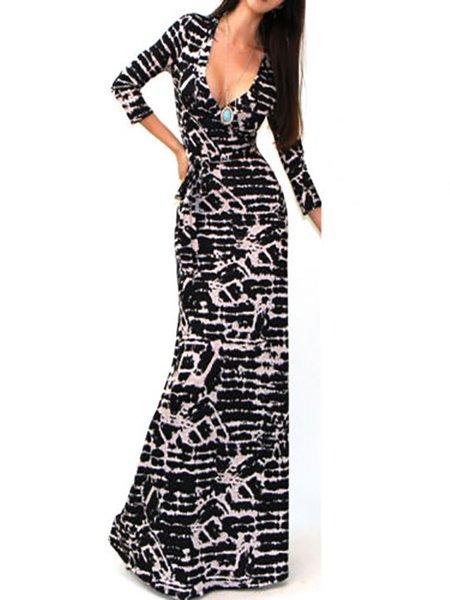 Sexy Bodycon 3/4 Sleeve Floor Dress