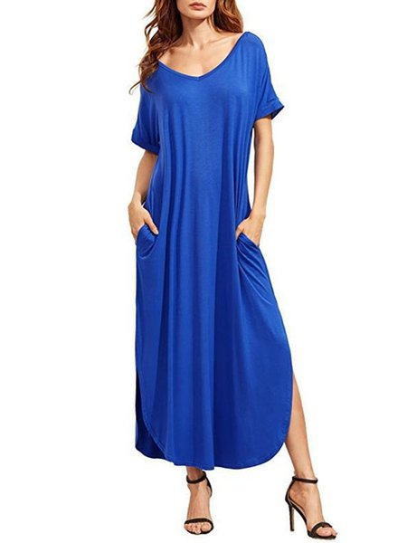 Women Casual Dress V neck Shift Daily Short Sleeve Modal Dress