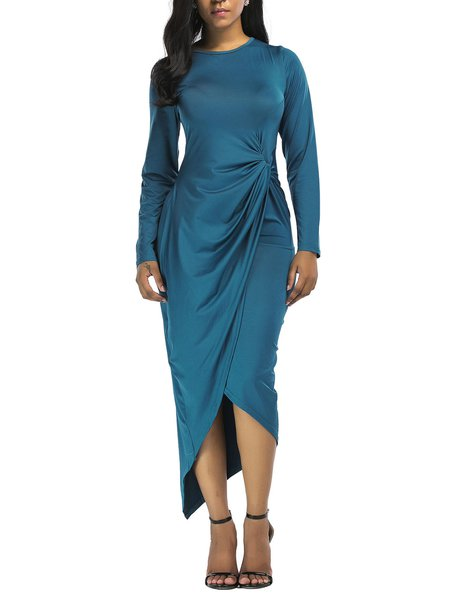 Blue Casual Crew Neck Asymmetrical Dress