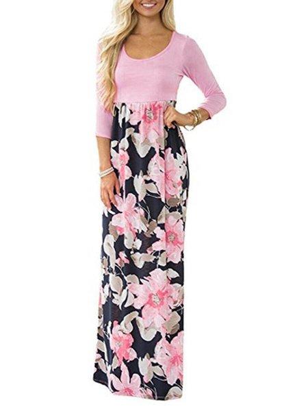 Women Print Dress Crew Neck Daily 3/4 Sleeve Cotton Dress