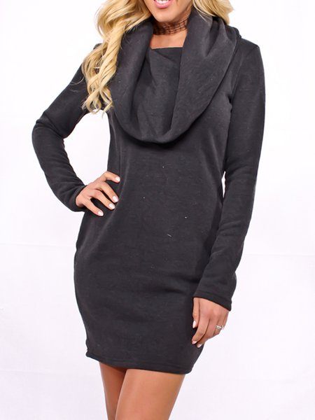 Gray H-line Long Sleeve Cotton Dress