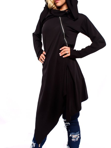 Black Long Sleeve Hoodie Asymmetrical Cotton Dress